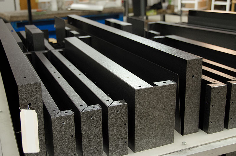 Various assembled angled components are assembled and ready to attached to complete a project.