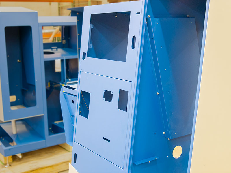 A close-up view of a kiosks component slots before they are installed.