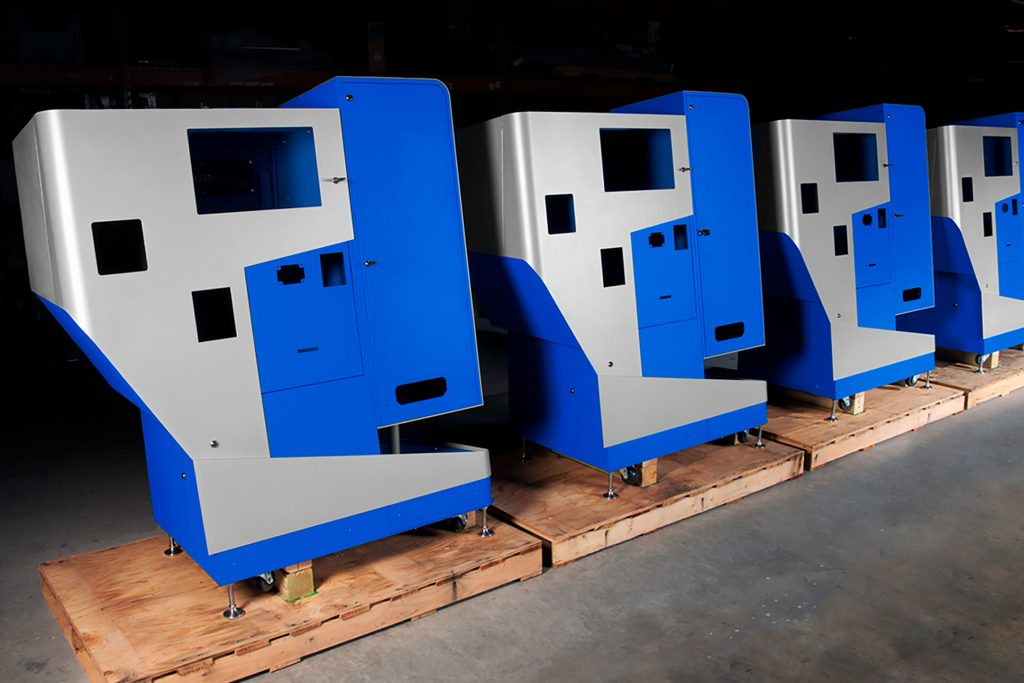 Custom built kiosks are ready to ship to the customer